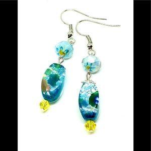 Blue Yellow Silver Foiled Murano Glass Earrings